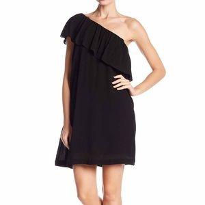State 1 One Shoulder Black Ruffle Dress